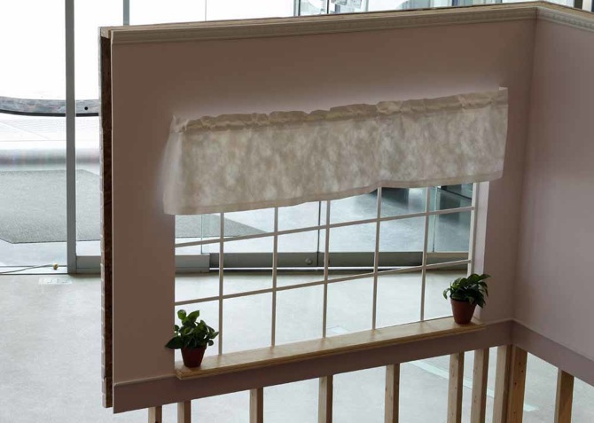 Trim And Crown Molding: Mass Produced Curtain: Hand Sewn Tyvek Pots: Rt.  Mass Produced Plastic, Lt. Handmade Slip Cast Terra Cotta Window Sill:  Birch ...